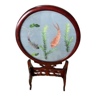 Vintage Chinese Double Sided Koi Fish Silk Embroidery on Wood Stand For Sale