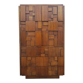 1970's Mid-Century Brutalist Mosaic Armoire by Altavista Lane For Sale