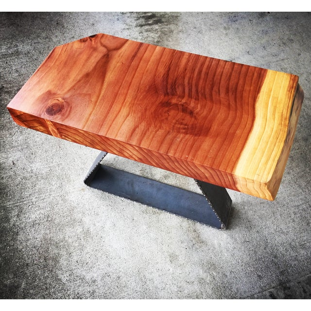 Redwood Solid Slab Live Edge Side Table Chairish - Redwood side table