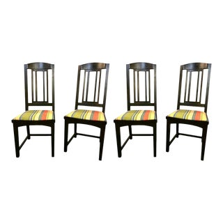 Ebony Pace Modern Collection Dining Chairs, Set of Four Slat Back For Sale