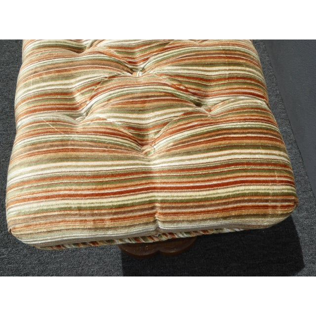 Vintage Mid-Century Tufted Stripped Bench - Image 5 of 10