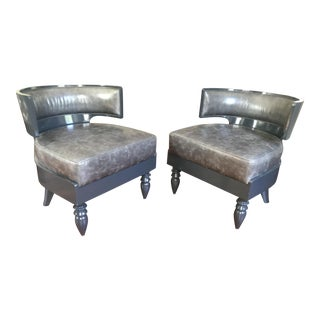Italian Greek Revival Grey Leather Chairs - a Pair For Sale