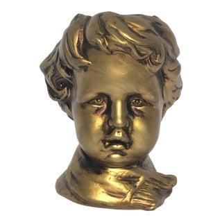 Vintage Mid Century Gold Ceramic Head Vase For Sale