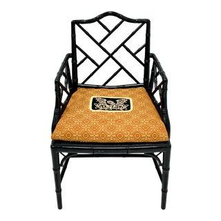 Chinese Chippendale Style Faux Bamboo Arm Chair For Sale