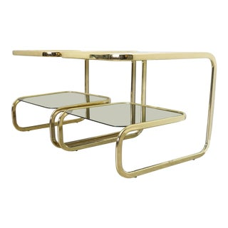 1970s Hollywood Regency Solid Brass Flat Bar Cantilevered Pair Side Tables - a Pair For Sale