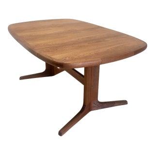 Nordic Teakwood Trestle Dining Table + Leaves For Sale