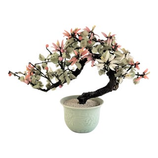 Mid Century Vintage Chinese Art Jade Bonsai Gem Flower Tree in a Celadon Pot For Sale