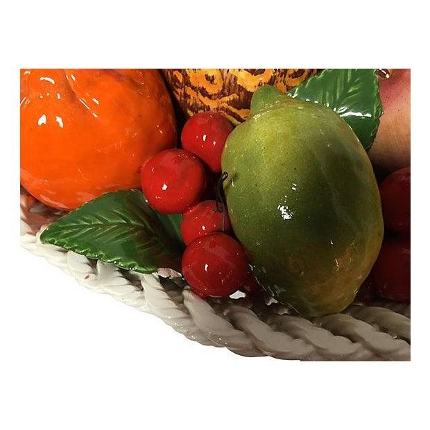 Ceramic Vintage Italian Majolica Fruit Basket For Sale - Image 7 of 8