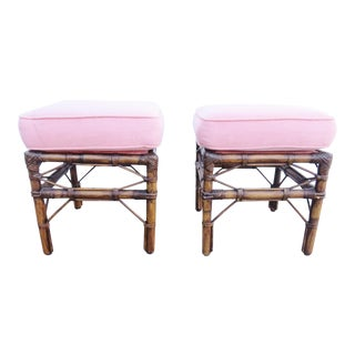Bamboo Upholstered Footstools-a Pair For Sale