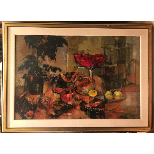 1980s Original Mid Century Modern Jenny Tomao Abstract Still Life Painting For Sale - Image 5 of 5