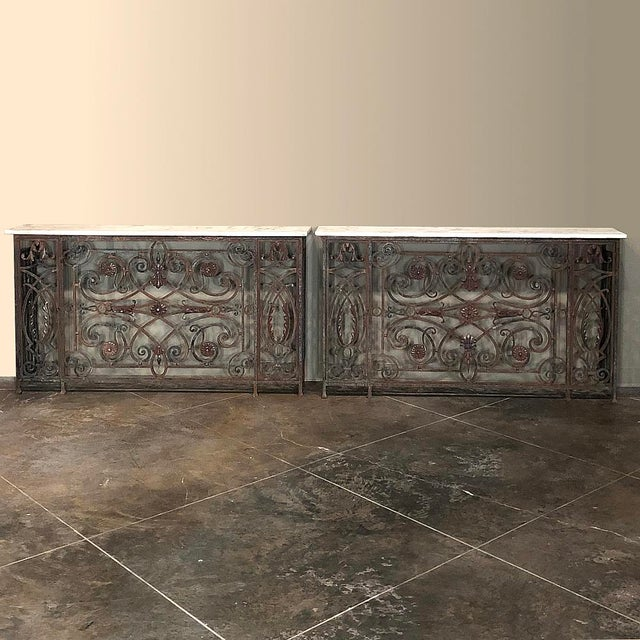 Pair 19th Century Wrought Iron Marble Top Consoles For Sale - Image 13 of 13