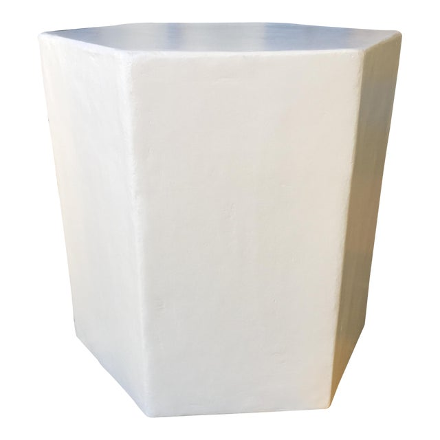 Plaster Hexagon Side Table For Sale