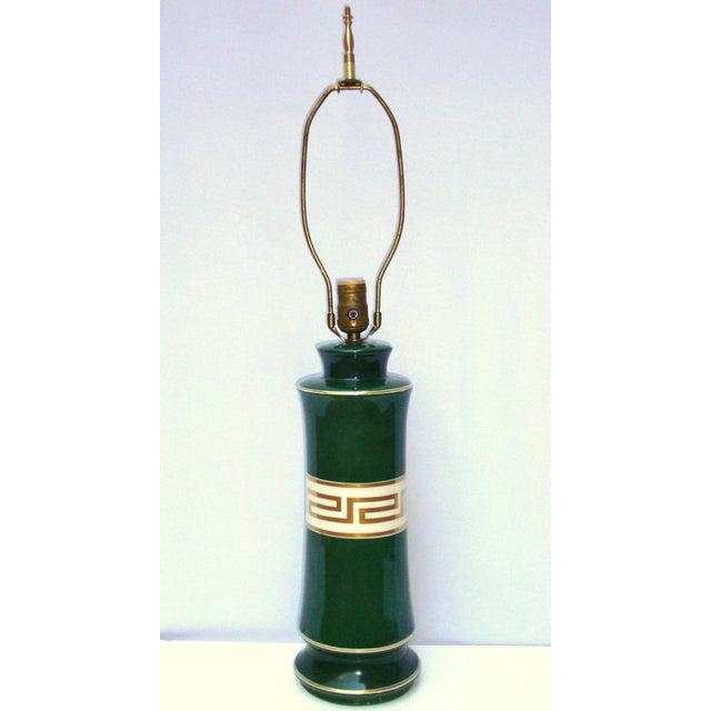 Antique Greek Key Green Gold White Ceramic Lamp - Image 2 of 11