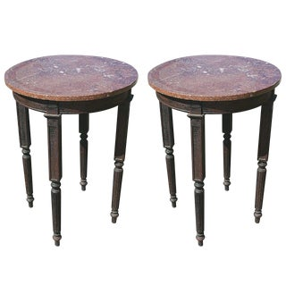 1900s Traditional Marble Top Tall Tables - a Pair For Sale