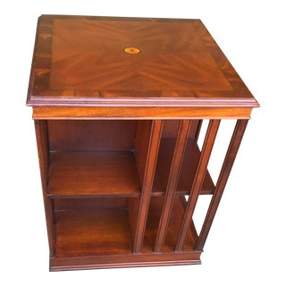 Rotating Inlaid Solid Wood Bookcase For Sale