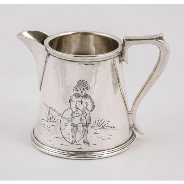 Three-Piece Child's Tea Set and Tray For Sale - Image 6 of 11