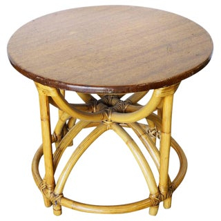 "Restore Five Strand ""Hour Glass"" Rattan Coffee Table For Sale"