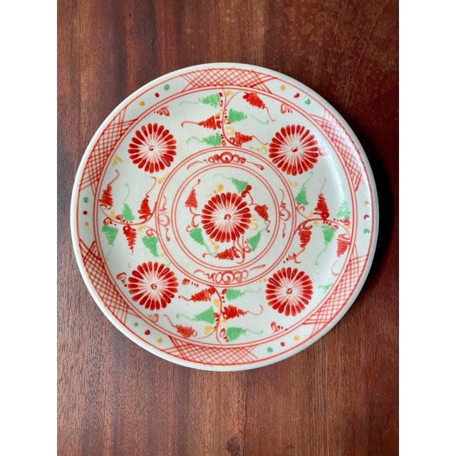 Vintage Red Flower Folk Art Plates- a Pair For Sale - Image 4 of 8