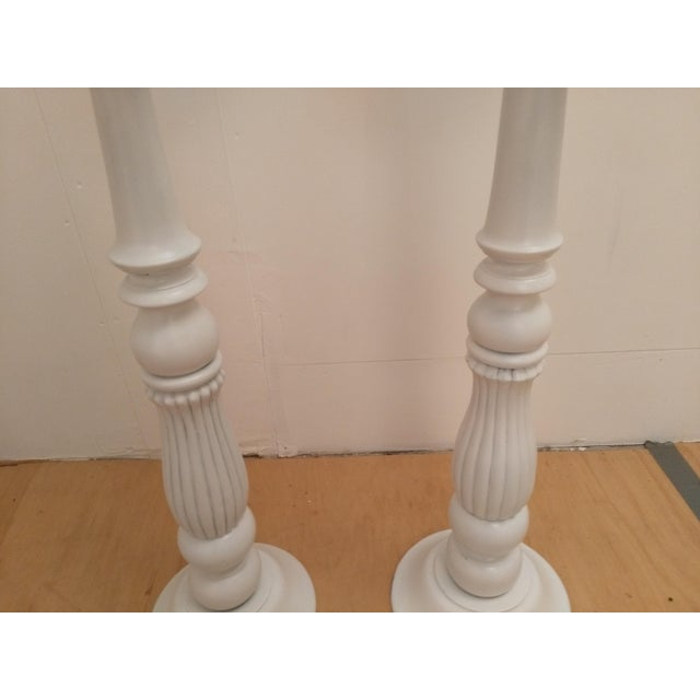 White Wooden Plant Stands - A Pair - Image 5 of 5