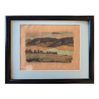 Vintage Mid-Century Chris Ritter Watercolor Landscape Painting For Sale