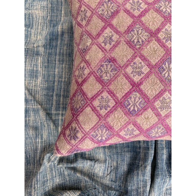 Blush Antique Tribal Wedding Quilt Pillow For Sale - Image 8 of 11