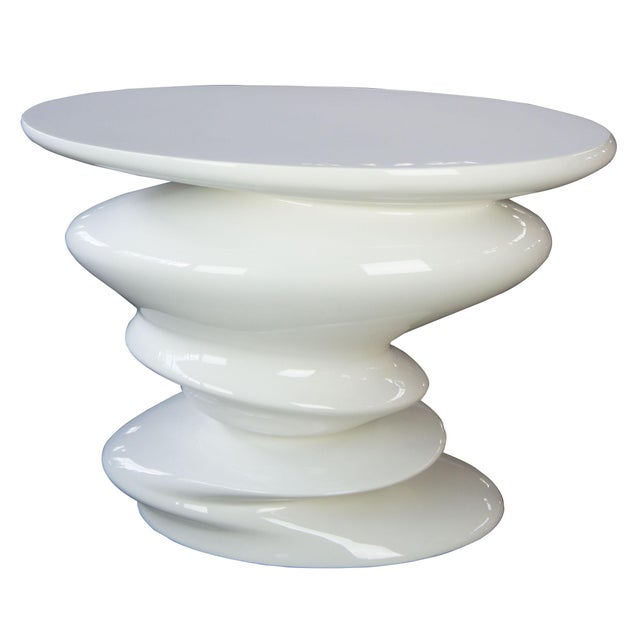 White Contemporary Roche Bobie Cédric Ragot Sismic White End Table For Sale - Image 8 of 8