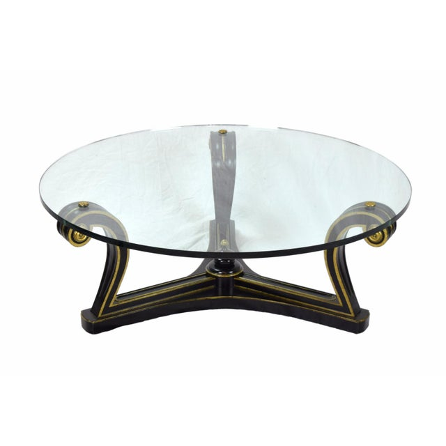 Fine Arts Furniture Co. 1960s Empire Ebonized Scroll Glass Top Coffee Table For Sale - Image 4 of 7