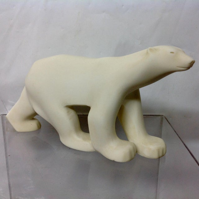 Marble Polar Bear Sculpture After Francois Pompon. Hand finished cast marble from original Pompon mold in 1984. Considered...