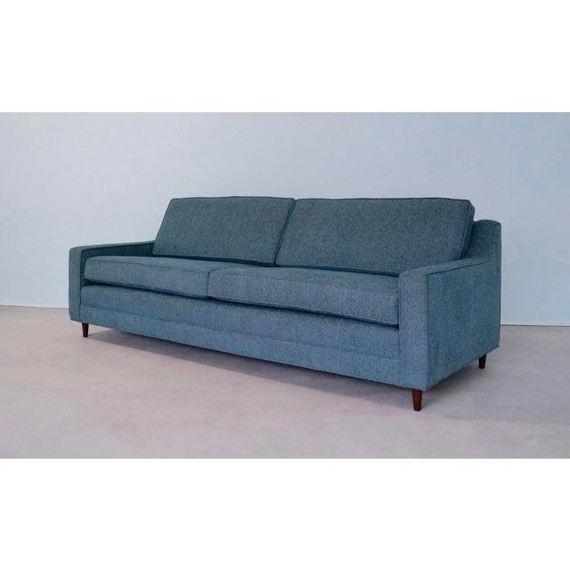 Original Mid-Century Modern Reupholstered Tweed Sofa - Image 2 of 11