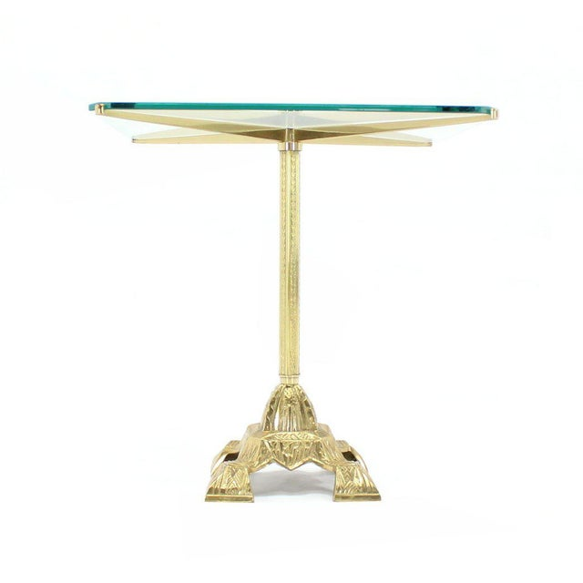 Mid-Century Modern Cast Brass Base and Glass-Top Side Table For Sale - Image 3 of 8