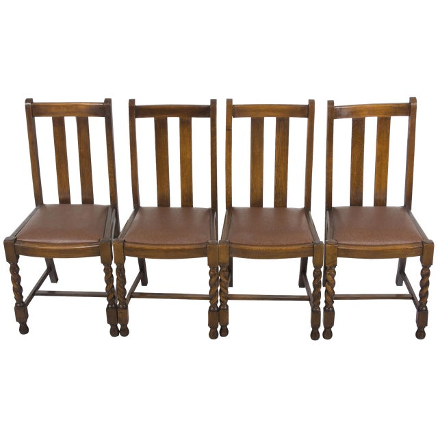 1940s Vintage Barley Twist Dining Room Or Kitchen Chairs Set Of 4