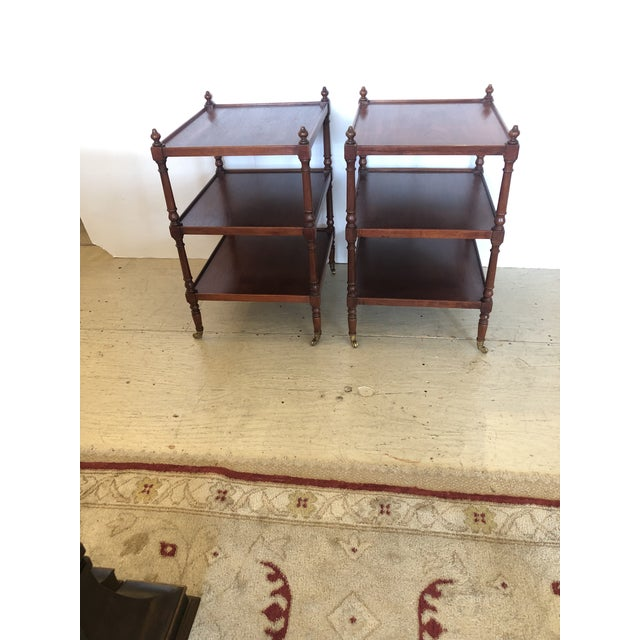 Grand Rapids Vintage 3-Tier Mahogany Side End Tables -A Pair For Sale - Image 4 of 9