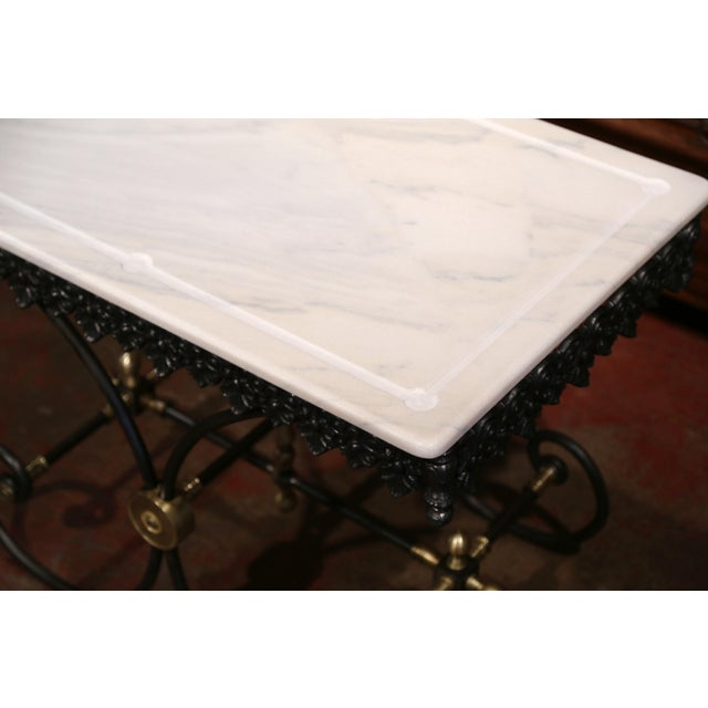 Polished French Iron Butcher or Pastry Table With Marble Top and Brass Mounts - Image 10 of 11