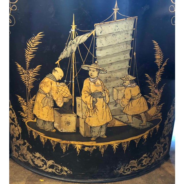 Metal Chinoiserie Tole Tea Canisters - a Pair For Sale - Image 7 of 11