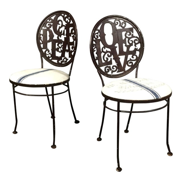 Pair Mid-Century Peace Love Garden Chairs, Grainsack Covers For Sale