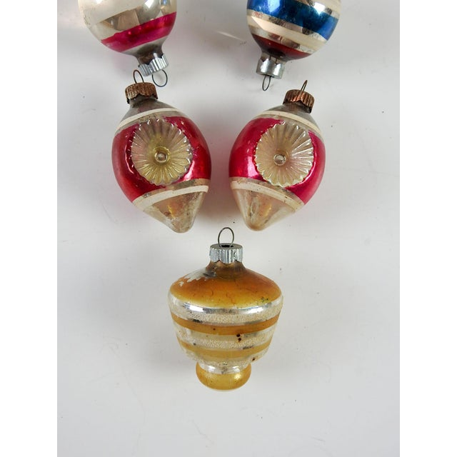 Group of Vintage Striped Christmas Ornaments - Set of 5 For Sale - Image 4 of 4