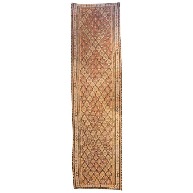 Early 20th Century Qazvin Runner - 3′8″ × 14′ For Sale