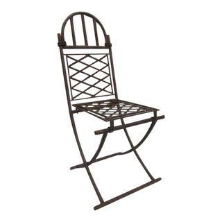 4 French Modern Neoclassical Wrought Iron Chairs Attr. to Raymond Subes, 1940