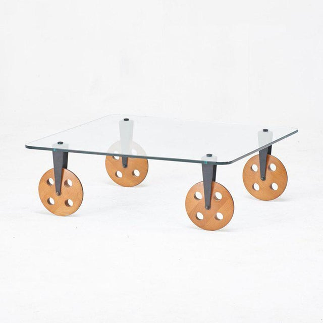"""Coffee table in the style of Gae Aulenti for Fontana Arte, designed after Aulenti's """"Tavolo con Ruote,"""" meaning """"table..."""