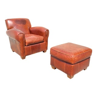 1960s French Art Deco Leather Club Chair and Ottoman - 2 Pieces