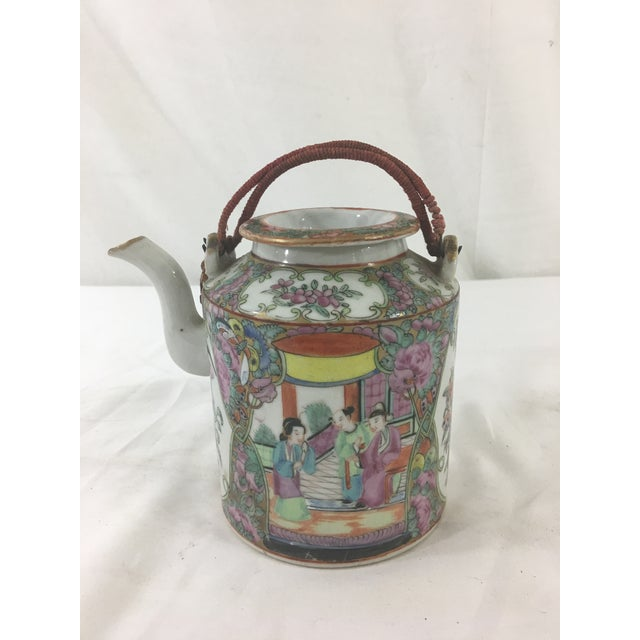 Asian 19th Century Rose Medallion Teapot For Sale - Image 3 of 6