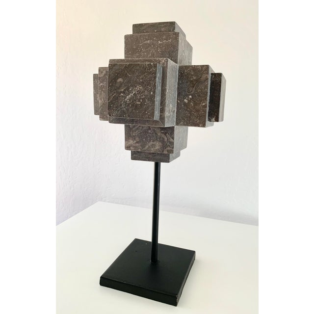 An elegant gray marble cube sculpture that will add a touch of sophistication to your decor. Large scale piece is perfect...