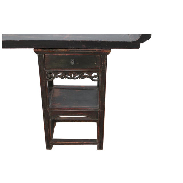 Traditional Ming Style Sarreid Ltd. Walnut Console For Sale - Image 3 of 5