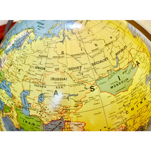 A J Nystrom & Co. 1968 Standing Library Globe For Sale - Image 9 of 12