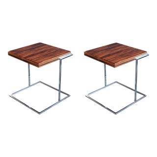 1970s French Square Macassar and Chrome Side Tables - a Pair For Sale