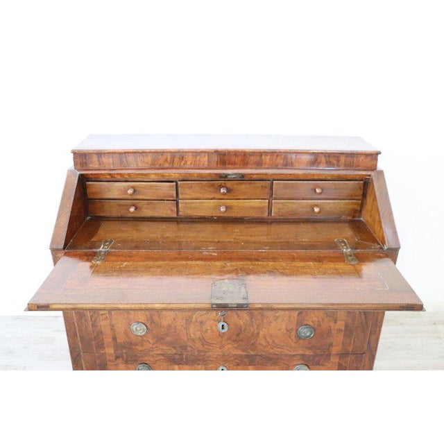 18th Century Italian Louis XVI Inlay Wood Chest of Drawers With Secretaire For Sale - Image 6 of 13