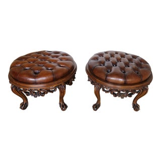 Pair of 1930s Carved Walnut Leather Tufted Ottomans For Sale