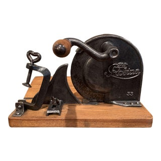 Early 20th Century German Iron and Wood Adjustable Meat and Bread Slicer For Sale