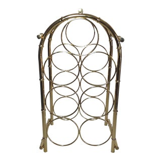 20th Century Hollywood Regency Brass Faux Bamboo Wine Rack For Sale