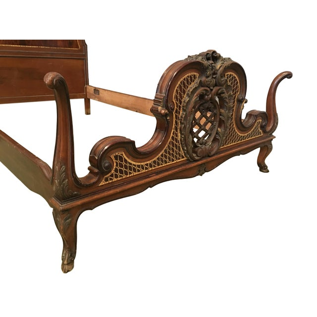 1930s Venetian Baroque Twin Marquetry & Carved Walnut Beds - A Pair For Sale - Image 4 of 11